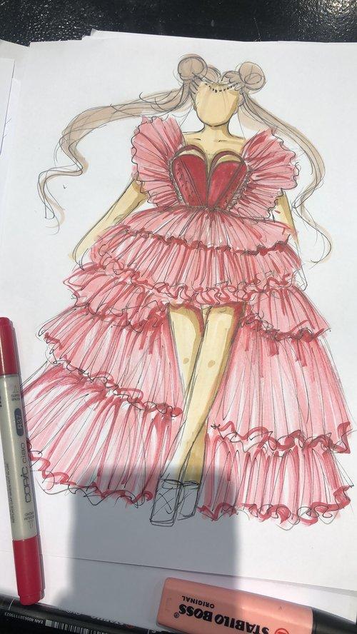 סקיצת השמלה לנטע ברזילי
