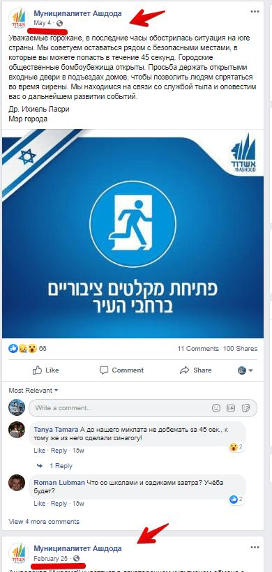 מפברואר עד הטילים במאי לא היו תכנים בפייסבוק העירייה